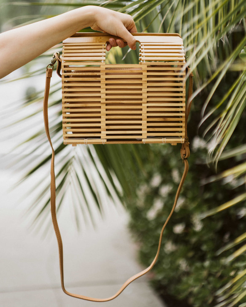wooden rectangular bamboo purse with crossbody strap