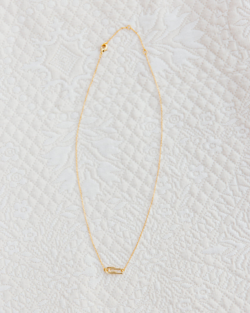quirky gold dipped paperclip layering necklace