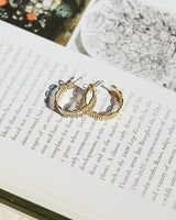 gold dipped filagree dainty hoop earrings