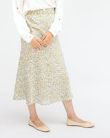 satin sage green floral bias cut midi skirt