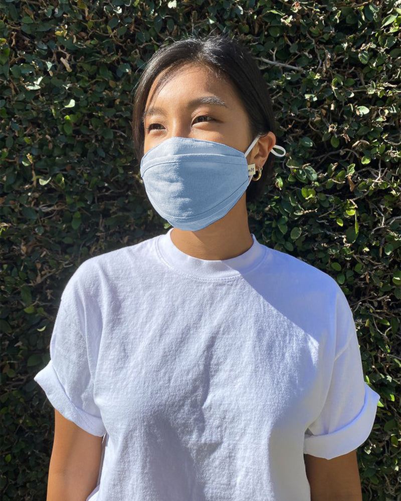 black cotton 3d face mask with adjustable elastic loops