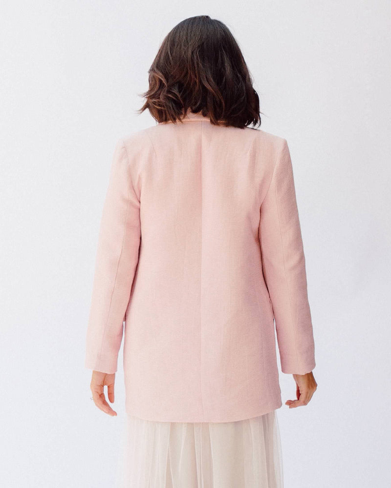 light pink textured longline open notched collar blazer