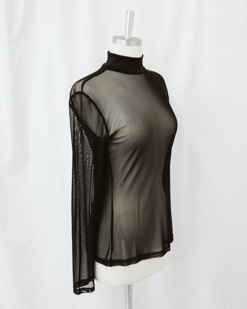 black mesh long sleeve top with ribbed mock neck