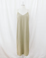 sage green v neck silky slip midi dress