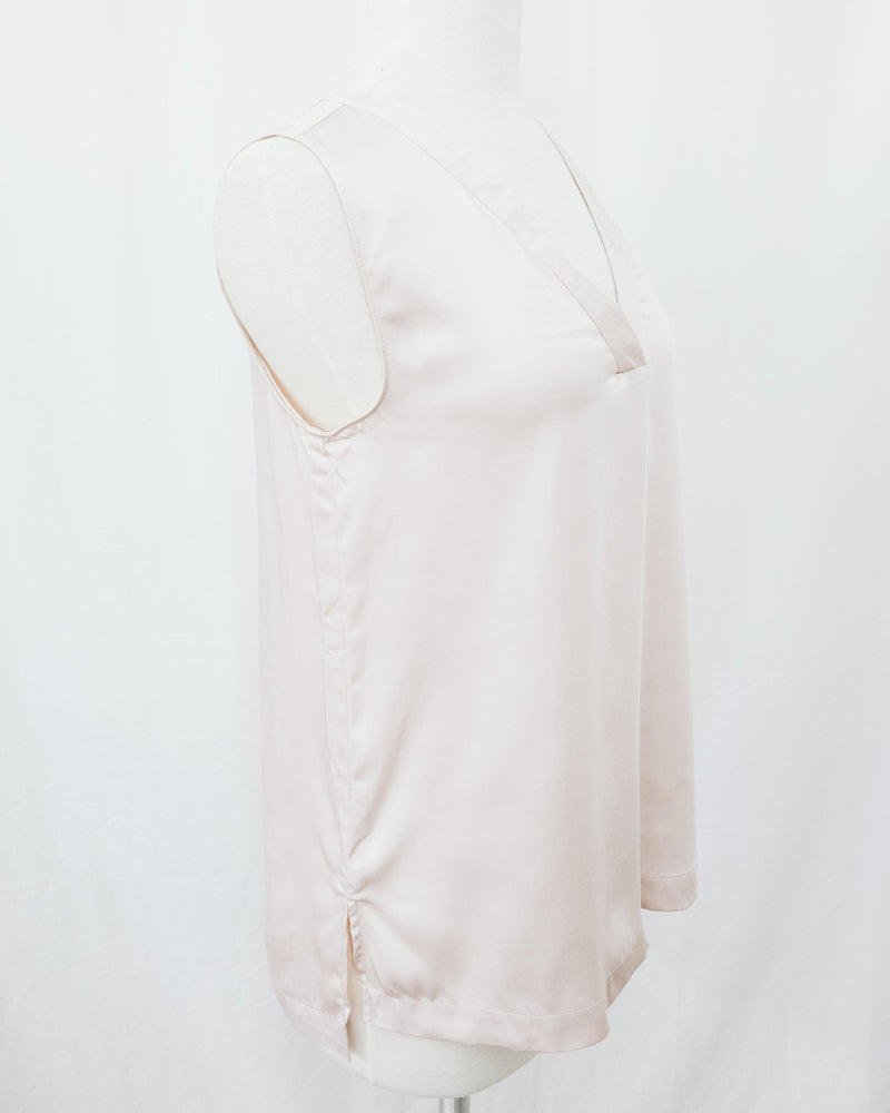 blush nude modal sleeveless blouse with placket