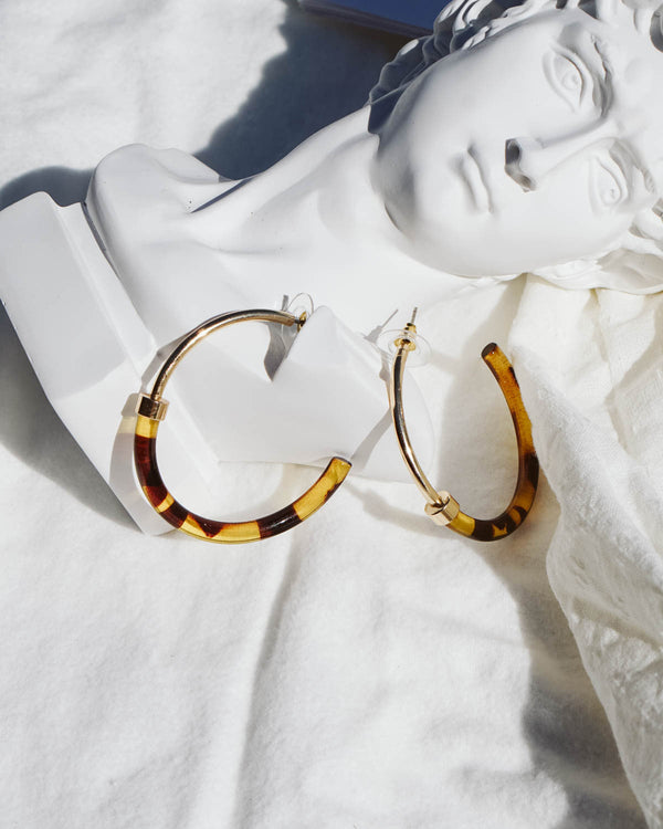 oversized gold and acrylic tortoiseshell hoop earrings