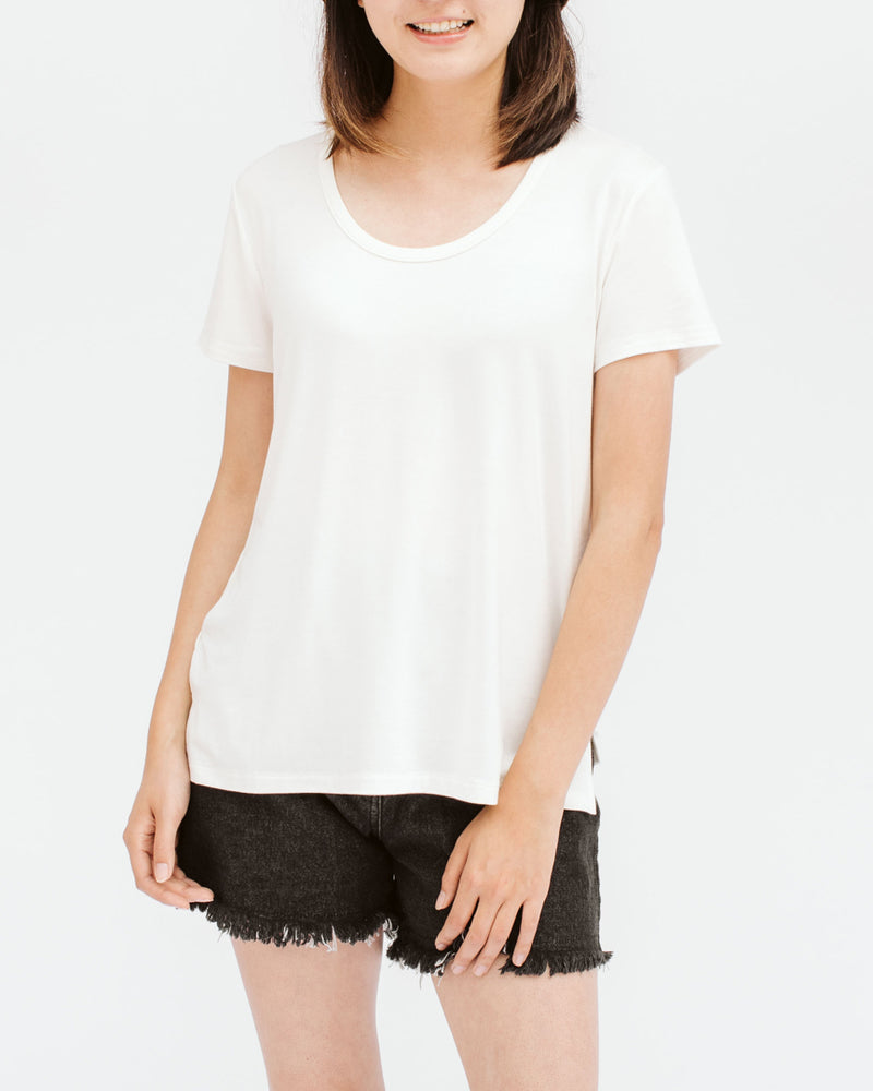 scoop neck bamboo basic top with side slits