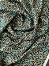 leopard teal and navy satin scarf