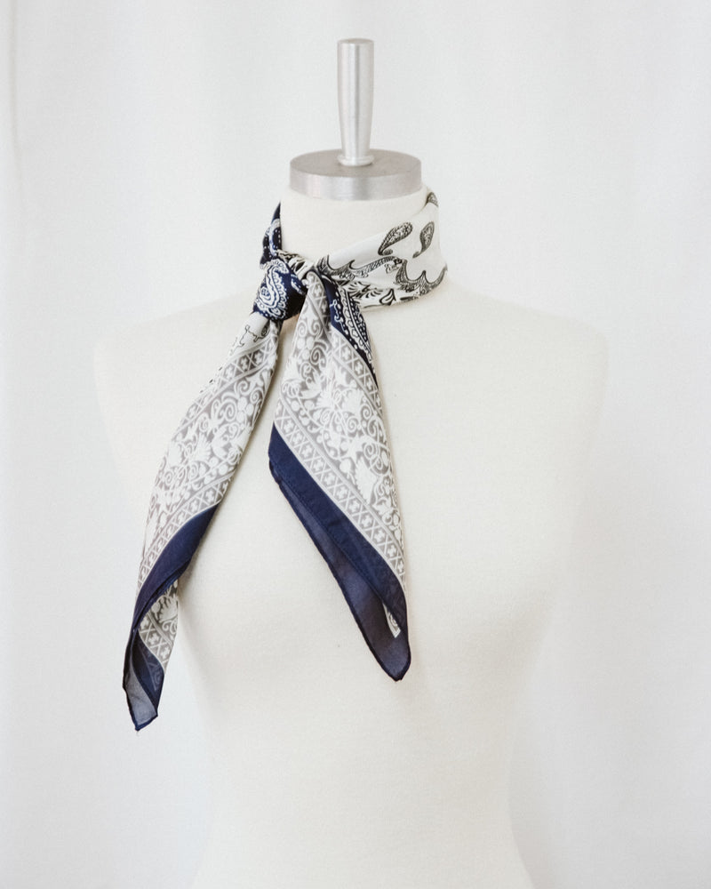 ivory and navy paisley polyester satin scarf