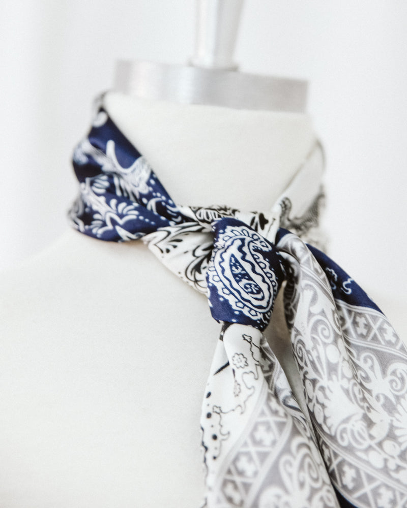 ivory and navy paisley satin polyester scarf