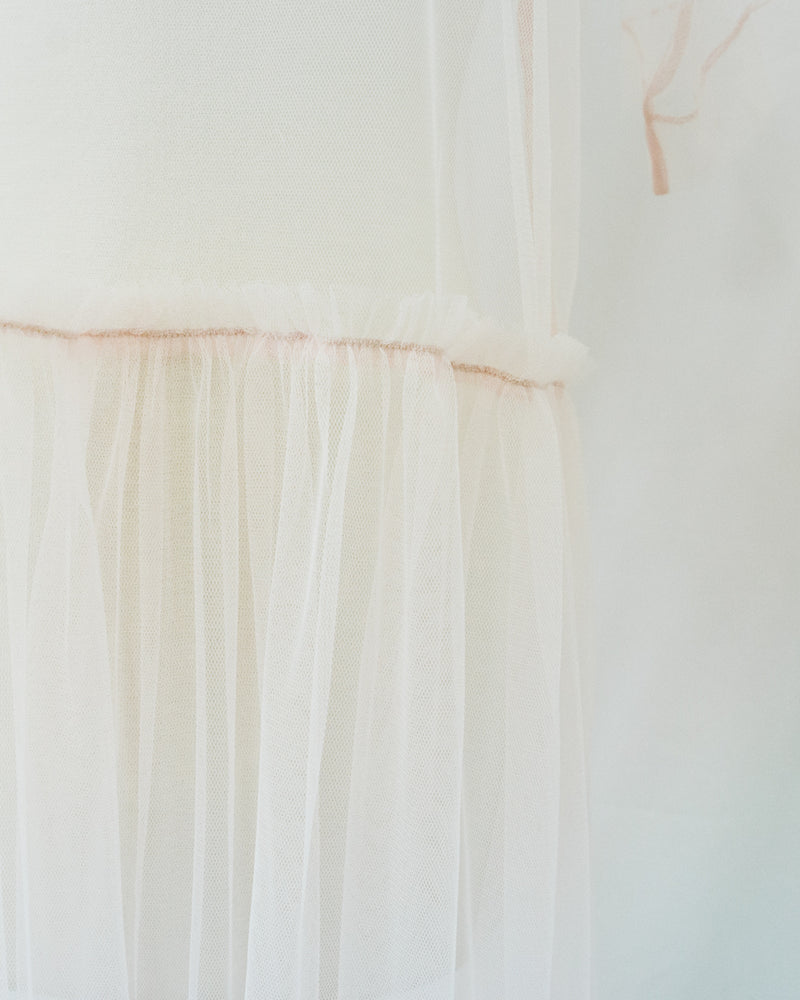 blush pink tulle t shirt dress with ruffled skirt