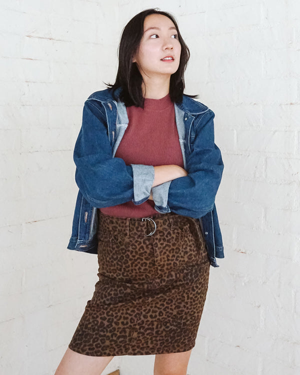 leopard print brown d ring belt pencil denim skirt