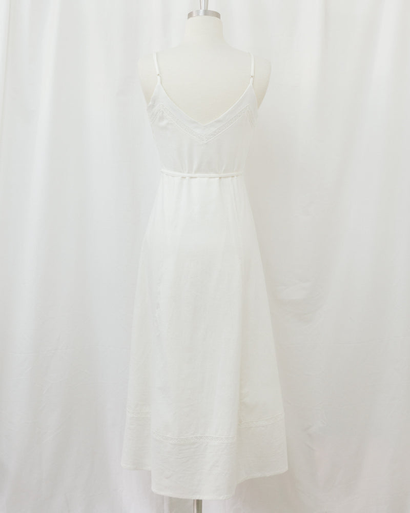 back view white wrap spaghetti strap dress with lace