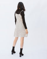 adjustable spaghetti strap sleeveless polka dot cream dress