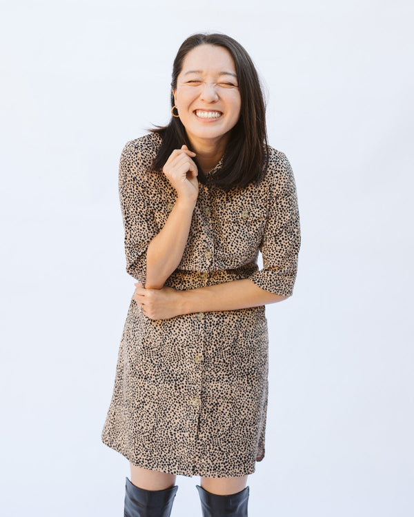 corduroy leopard print collared shirt dress