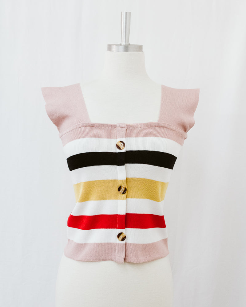 pink striped square neck tank top with buttons
