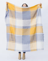 yellow cream and blue plaid blanket fringe scarf