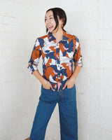 collared cropped rust pink navy floral top with waist tie
