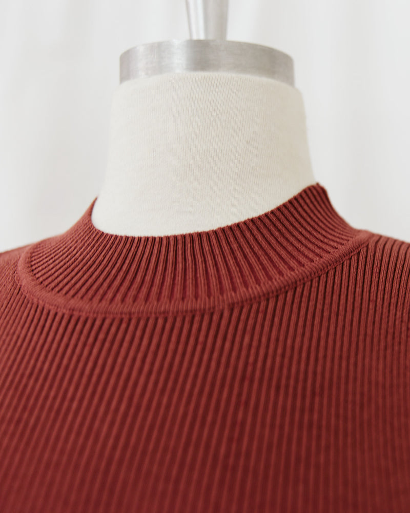 rust red ribbed mock neck sleeveless top