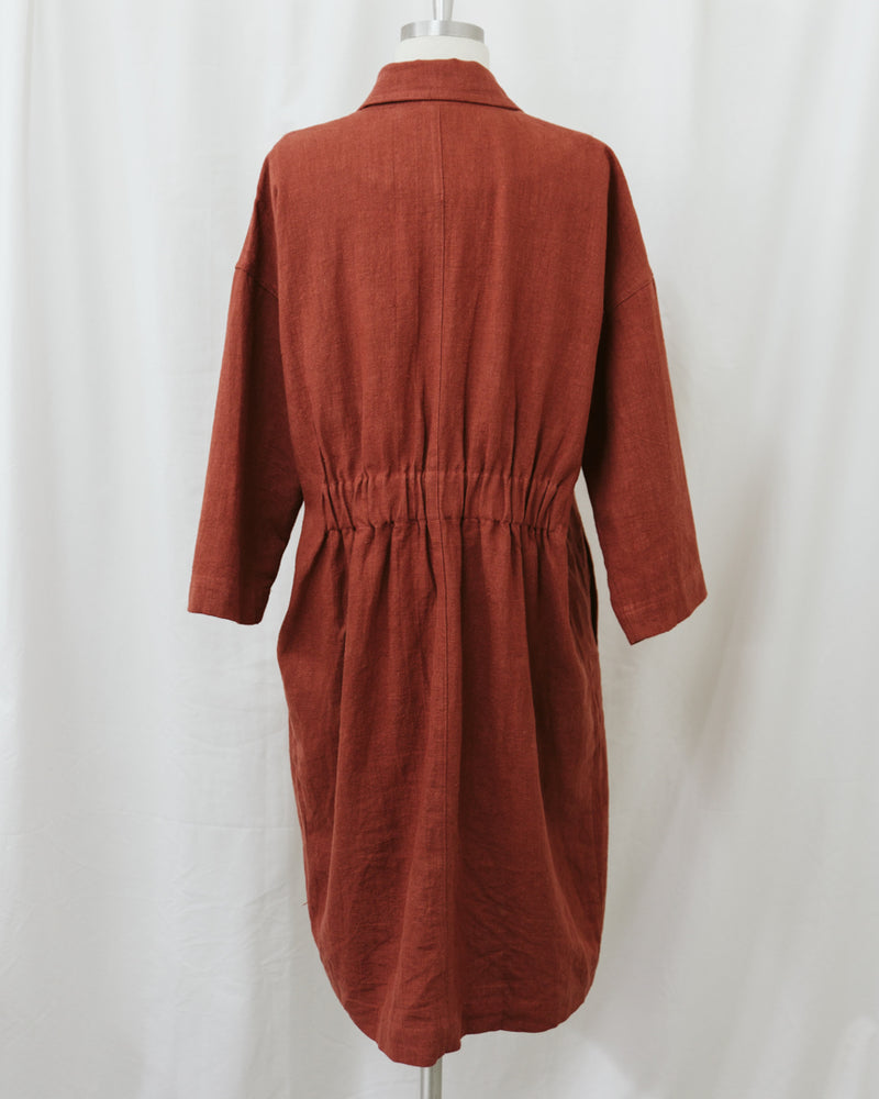 brick red collared linen coat with pockets