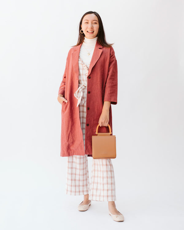 rust red linen cropped sleeve coat jacket