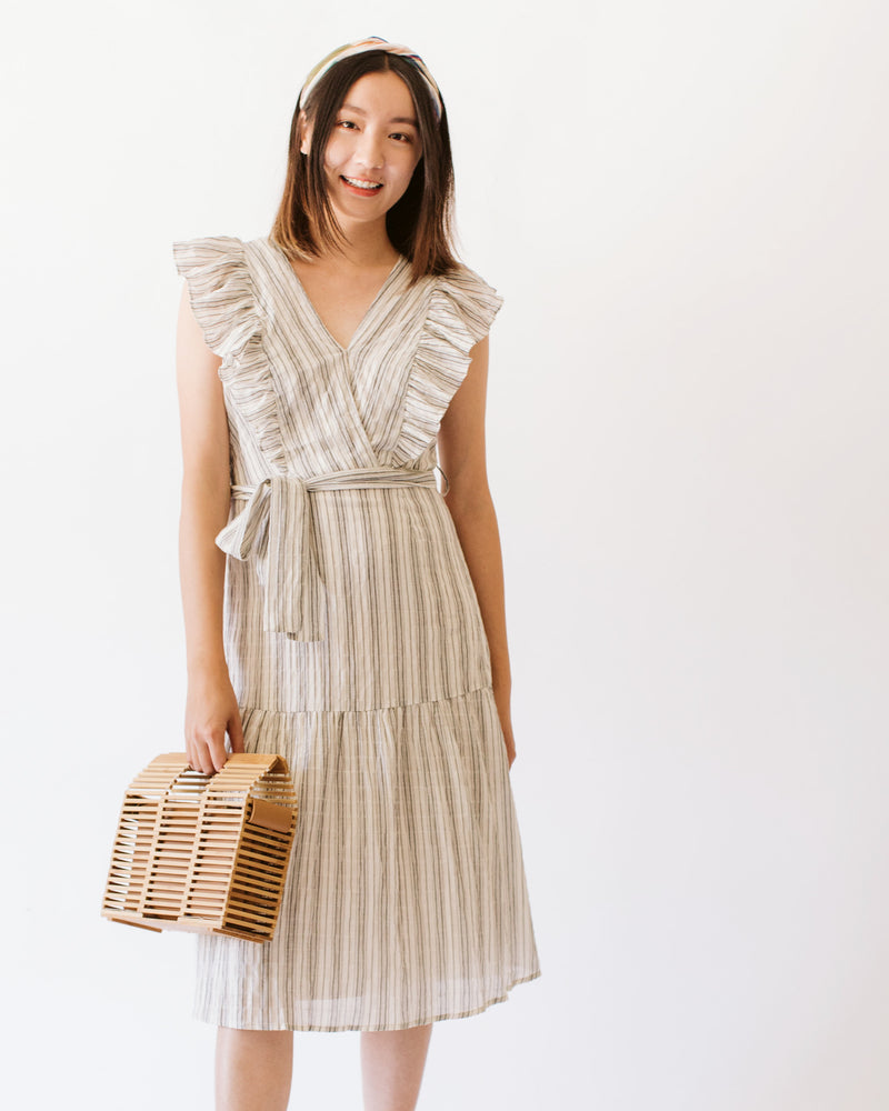 Flutter sleeve tiered stripe midi dress with waist tie
