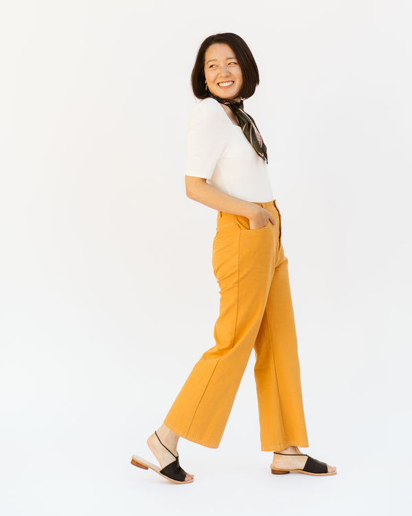 marigold yellow orange cropped wide leg button fly jeans