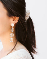 clear beaded statement earrings