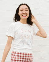 sun sand sea soft white embroidered graphic t shirt