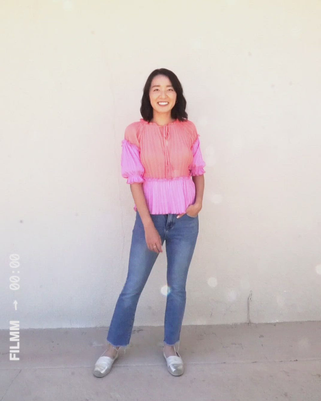video of hot pink and coral pleat blouse