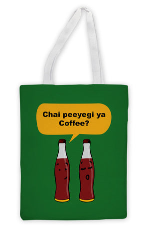 Tote Bags, Chai ya Coffee? Tote Bag, - PosterGully