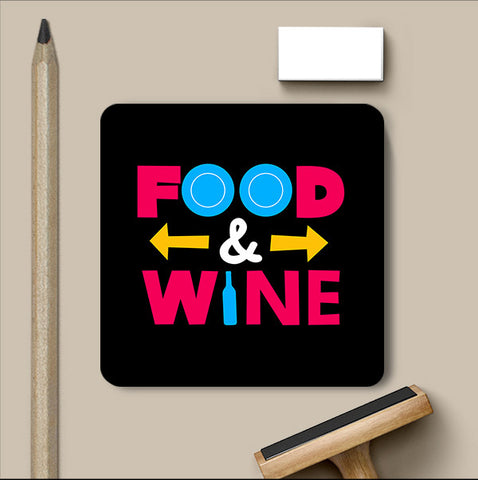 PosterGully Coasters, Food And Wine Typography Coaster, - PosterGully