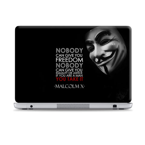 V For Vendetta & Malcolm X Laptop Skin