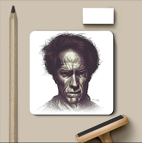 PosterGully Coasters, Clint Eastwood Matte Raj Khatri Coaster, - PosterGully