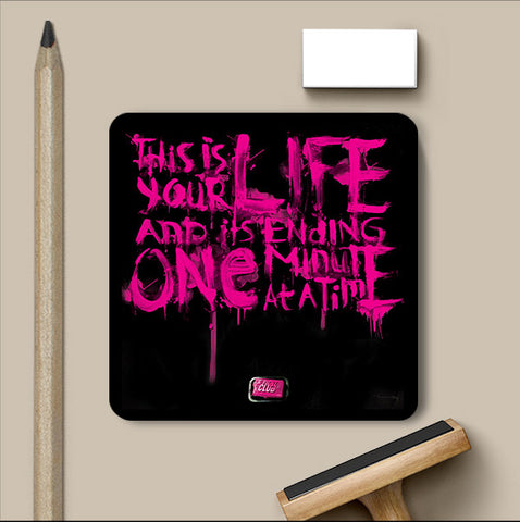 PosterGully Coasters, Fight Club Black & Purple Artwork Coaster, - PosterGully