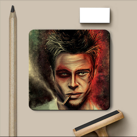 PosterGully Coasters, Fight Club Brad Pitt Artwork Coaster, - PosterGully