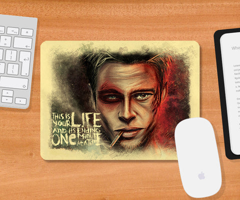 Mousepads, Fight Club Brad Pitt Artwork Mousepad, - PosterGully