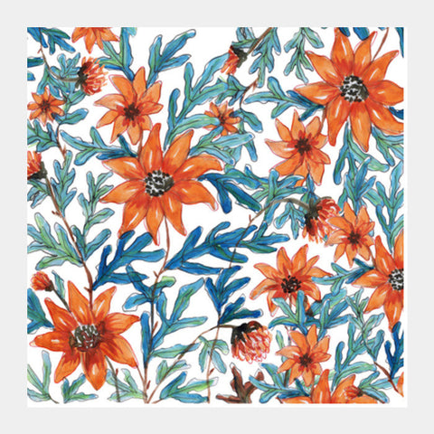 Watercolor Painted Orange Flowers Elegant Spring Garden Floral Background Square Art Prints PosterGully Specials