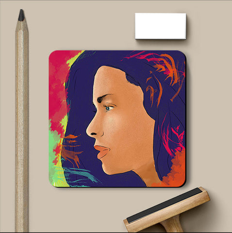 PosterGully Coasters, Girl Lost In Thoughts Coaster, - PosterGully