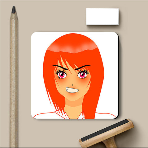 PosterGully Coasters, Manga Girl Angry Coaster, - PosterGully
