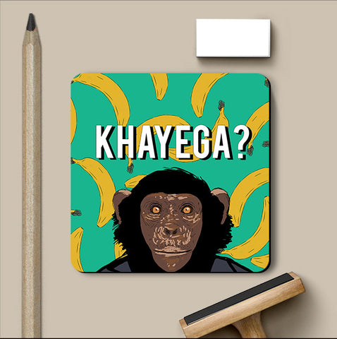 PosterGully Coasters, Kela Khayega Hindi Humour Coaster, - PosterGully