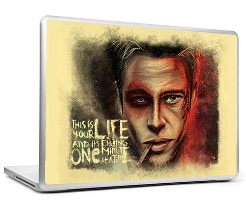 Laptop Skins, Fight Club Brad Pitt Artwork Laptop Skin, - PosterGully