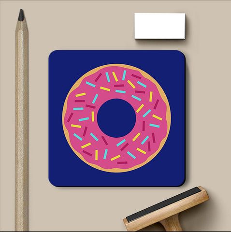 PosterGully Coasters, Pink Donut Coaster, - PosterGully