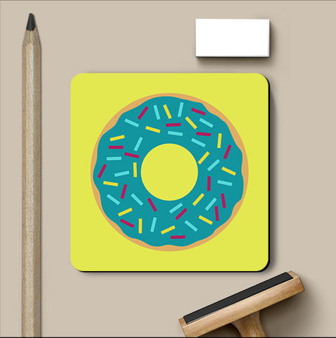 PosterGully Coasters, Blue Donut Coaster, - PosterGully