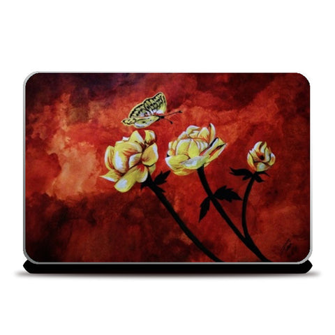 Butterfly and flowers painting Laptop Skins | Artist : Pallavi Rawal
