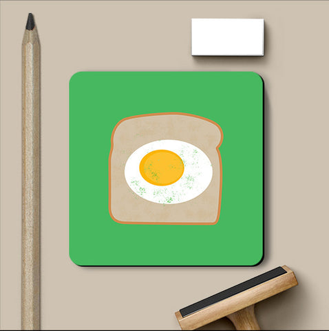 PosterGully Coasters, Egg On Bread Coaster, - PosterGully