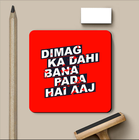 PosterGully Coasters, Dimag Ka Dahi Hindi Humour Coaster, - PosterGully