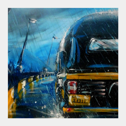 Square Art Prints, Indian Monsoon | Painting Square Art Prints | Artist : Smeet Gusani, - PosterGully