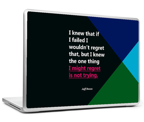 Laptop Skins, Jeff Bezos regret - Startup Quote Laptop Skin, - PosterGully