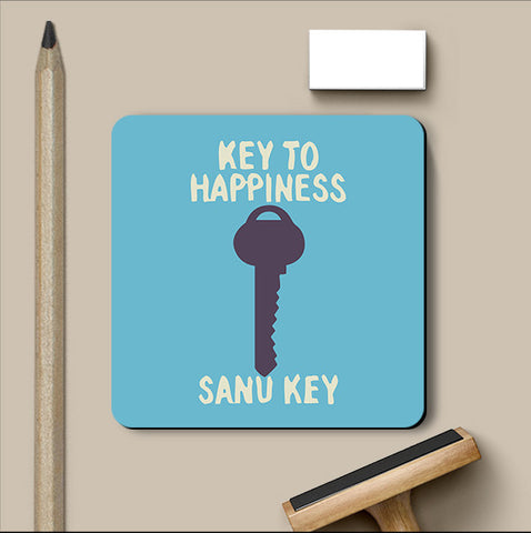 PosterGully Coasters, Key To Happiness Humour Coaster, - PosterGully